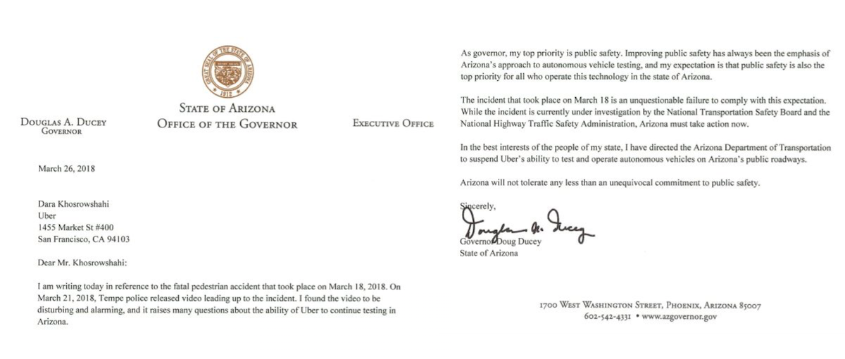 Arizona Governor Suspends Uber Test License Indefinitely